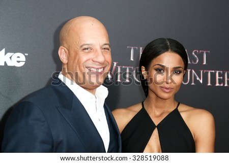 NEW YORK-OCT 13: Actor Vin Diesel (L) and singer Ciara attend 'The Last Witch Hunter' New York premiere at AMC Loews Lincoln Square on October 13, 2015 in New York City. - stock photo