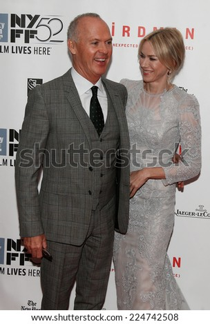 NEW YORK-OCT 11: Actors Michael Keaton (L) and Naomi Watts attend the premiere of 'Birdman Or The Unexpected Virtue Of Ignorance' at the New York Film Festival on October 11, 2014 in New York City. - stock photo