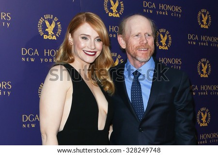 NEW YORK-OCT 15: Actress Bryce Dallas Howard and Director Ron Howard attend the DGA Honors Gala 2015 at the DGA Theater on October 15, 2015 in New York City. - stock photo