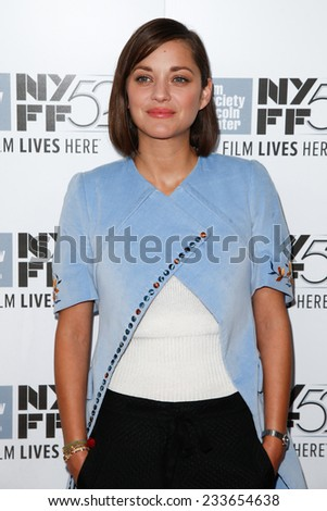 NEW YORK-OCT 5: Actress Marion Cotillard attends the 'Two Days, One Night' premiere during the 52nd New York Film Festival at Alice Tully Hall on October 5, 2014 in New York City. - stock photo