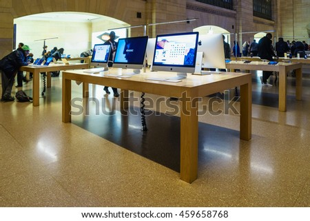 NEW YORK - OCT 31: Custoemers visit Apple Store at Grand Central Station on Oct 31, 2015 in New York, USA.