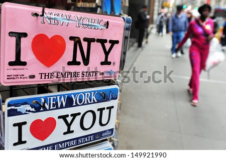 NEW YORK - OCT 09:I LOVE NY signs for sale on Oct 09 2009.It's based on advertising campaign used since 1977 to promote tourism in New York City and later to promote New York State as well. - stock photo
