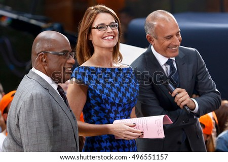 NEW YORK-OCT 7: (l-r) Al Roker, Savannah Guthrie and Matt Lauer during NBC's 'Today Show' at Rockefeller Plaza on October 7, 2013 in New York City.