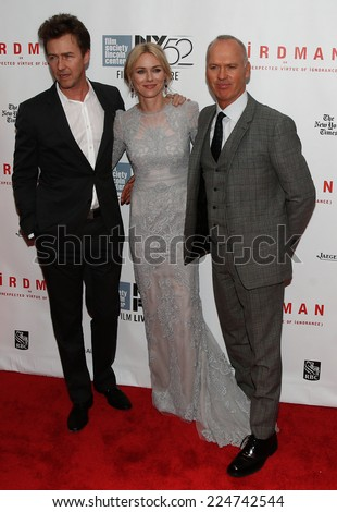NEW YORK-OCT 11: (L-R) Ed Norton, Michael Keaton and Naomi Watts attend the 'Birdman Or The Unexpected Virtue Of Ignorance' premiere at the New York Film Festival on October 11, 2014 in New York City. - stock photo