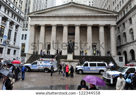 NEW YORK - OCT 09: The Federal Hall on October 09 2009 in Wall Street Manhattan New York. It was built in 1842 as the United States Custom House. - stock photo