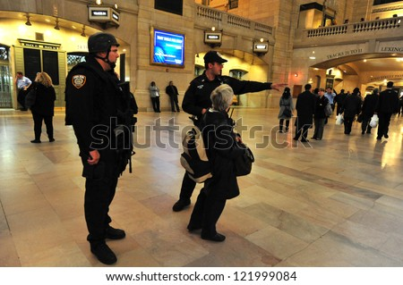 NEW YORK - OCT 14:US Anti Terror and  Counter-terrorism unit guards at the Grand Central Station Manhattan on October 14 2009 in Manhattan New York, USA.The Grand Central Terminal turns 100 in 2013 - stock photo