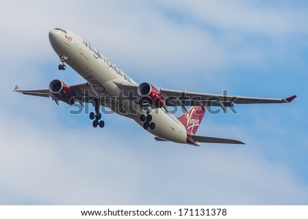 NEW YORK - OCTOBER 9: Airbus A330 Virgin Atlantic departs from JFK in New York, USA on October 9 2013. Virgin Atlantic is British airline owned by Richard Branson's Virgin Group and Singapore Airlines - stock photo