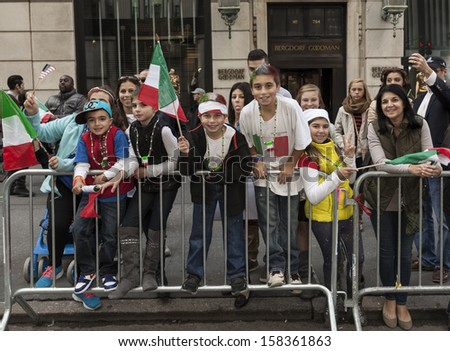 NEW YORK - OCTOBER 14: Atmosphere at annual Columbus Day Parade on 5th Avenue on October 14, 2013 in New York City