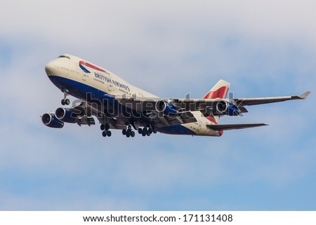 NEW YORK - OCTOBER 8: Boeing 747 British Airways takes off from JFK in New York, USA on October 8, 2013. British Airways is one of the oldest airlines and rated top 3 biggest in Europe. - stock photo
