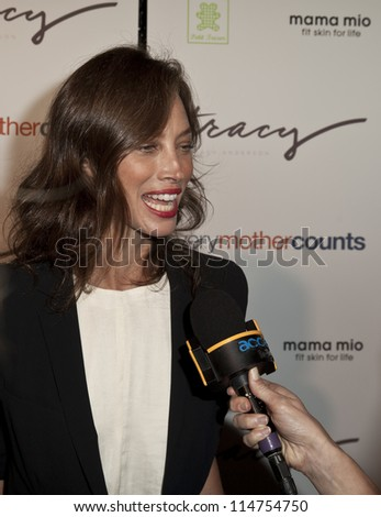 NEW YORK - OCTOBER 05: Christy Turlington Burns gives interview at launch of The Tracy Anderson Method Pregnancy Project at Le Bain At The Standard Hotel on October 05, 2012 in New York City. - stock photo