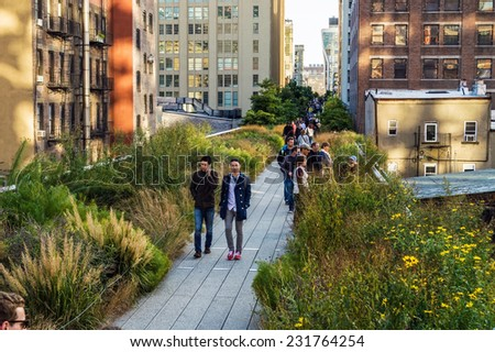 NEW YORK-OCTOBER 20:Classic New York City architecture can be seen along the High Line Park on October 20, 2014 in Manhattan. - stock photo