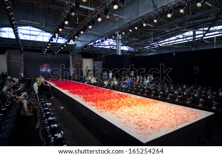 NEW YORK- OCTOBER 16: Empty runway for Claire Pettibone bridal show for Fall 2013 during NY Bridal Fashion Week on October 16, 2013 in New York City, NY  - stock photo