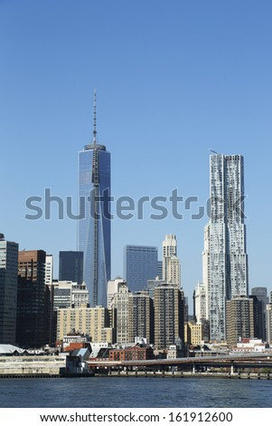 NEW YORK - October 1: Freedom Tower and Beekman Tower in Lower Manhattan on October 1 , 2013. Beekman Tower is the tallest all-residential building in New York City and the western hemisphere  - stock photo