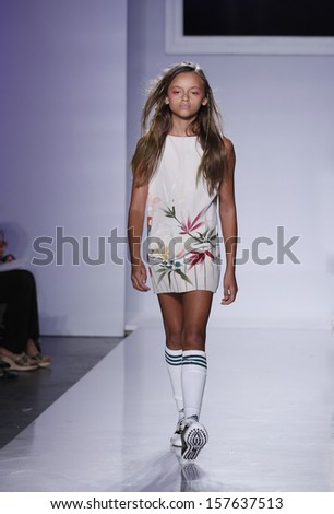 NEW YORK - OCTOBER 6: Girl walks runway for Bonnie Young at Vogue Bambini petiteParade Kids Fashion Week at Industrial Superstudio on October 6, 2013 in New York City
