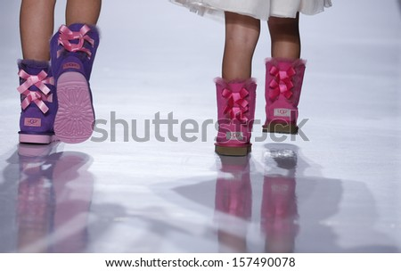 NEW YORK - OCTOBER 5: Girls walk runway for Ugg Australia collection ...