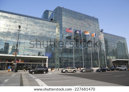 NEW YORK - OCTOBER 30: Javits Convention Center in Manhattan on October 30, 2014. The convention center has a total area space of 1,800, 000 square ft and has 840,000 square ft of total exhibit space  - stock photo