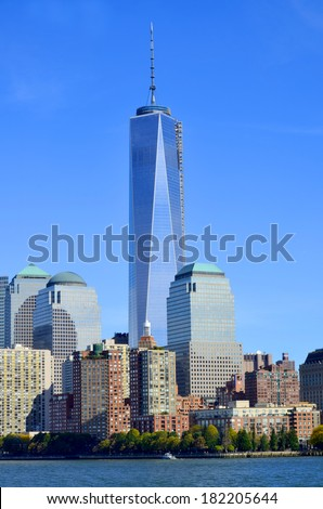 NEW YORK - OCTOBER 24: Lower Manhattan and One World Trade Center or Freedom Tower on October 24, 2013 in New York City, New York is the primary building of the new World Trade Center complex - stock photo
