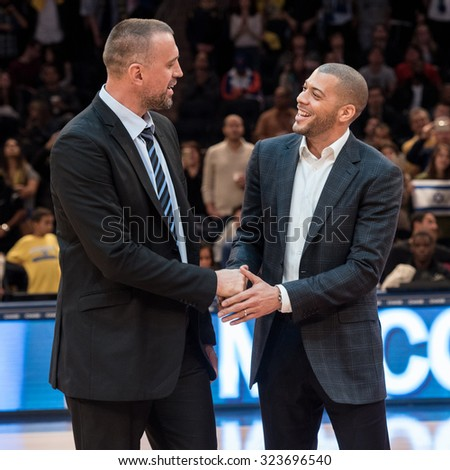 NEW YORK - October 4: Maccabi Tel-Aviv's past players Nikola Vujcic and Anthony Parker attend the 'Euro Classic' in the Madison Square Garden, New York on October 4, 2015.