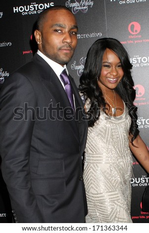 "NEW YORK - OCTOBER 22, 2012: Nick Gordon and Bobbi Kristina Brown attend the premiere of ""The Houstons: On Our Own"" at the Tribeca Grand on October 22, 2012 in New York City. - stock photo"