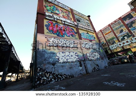 NEW YORK- OCTOBER 4: 5 Point z, a cultural landmark for hip-hop in wide angle Queens on October 4 2010. it is likely to be demolished by September 2013 and build two apartment buildings in the future. - stock photo