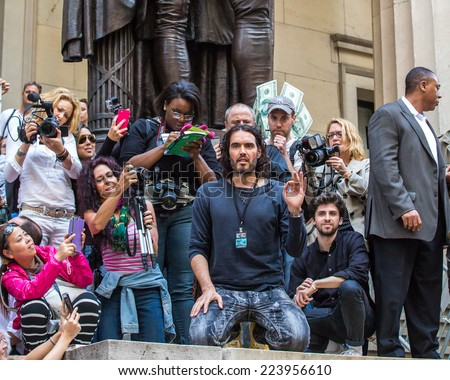 NEW YORK - OCTOBER 14: Russell Brand  sighting at Occupy Wall Street rally on October 14, 2014 in New York City. - stock photo