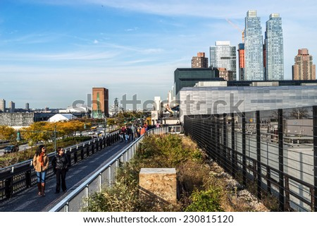 NEW YORK-OCTOBER 20:The newest section of the High Line near the Javits Center on 34th St. on October 20, 2014 in New York City. - stock photo