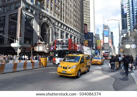 New York - October 23 2016 - Yellow Cab in Manhattan