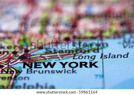 New York on the Map - stock photo