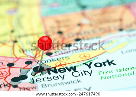 New York pinned on a map of USA  - stock photo