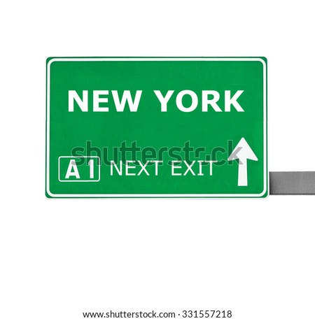 NEW YORK road sign isolated on white - stock photo