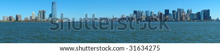 New York's Manhattan and Jersey City panorama photo, water in foreground