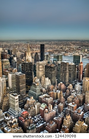New York's Midtown aerial view - stock photo