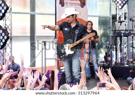 NEW YORK-SEP 4: Brad Paisley performs onstage at NBC's TODAY Show Concert Series at Rockefeller Plaza on September 4, 2015 in New York City. - stock photo