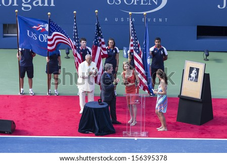 NEW YORK - SEP 8: Induction ceremony for Monica Seles into Court of Champions prior women 2013 US Open final between Serena Williams & Victoria Azarenka at the USTA Tennis Center on Sep 8, 2013 in NYC