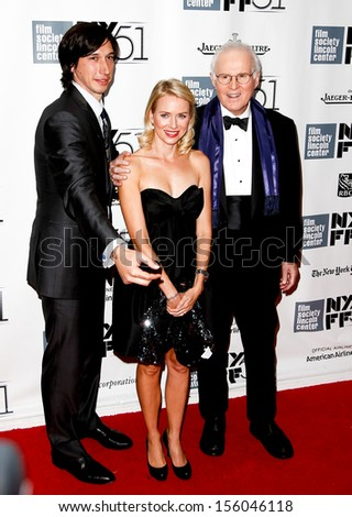 "NEW YORK-SEP 27: (l-r) Actors Adam Drive, Naomi Watts and Charles Grodin are seen filming ""While We're Young"" September 27, 2013 in New York City. - stock photo"