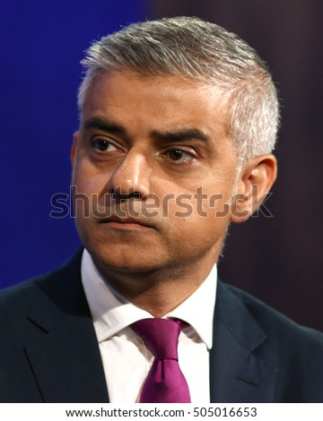 NEW YORK - SEP 19, 2016:  Mayor of London Sadiq Khan attends the Clinton Global Initiative Annual Meeting at The Shertaon New York Hotel on September 19, 2016 in New York City.