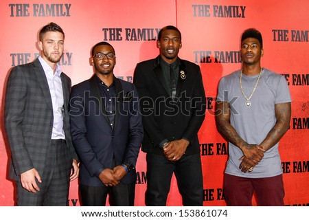 "NEW YORK-SEP 10: NBA player Chandler Parsons, John Wall, Amar'e Stoudemire and Iman Shumpert attend ""The Family"" world premiere at AMC Lincoln Square Theater on September 10, 2013 in New York City.   - stock photo"