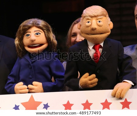NEW YORK - Sept. 26, 2016 - Hillary Clinton and Donald Trump puppets debut at AVENUE Q sponsored Town Hall style Presidential debate on September 26, 2016, in New York.