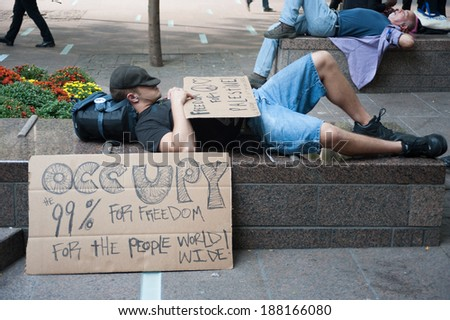 NEW YORK - SEPT 17 2012:Sleeping Occupy Wall Street Protesters mark one year anniversary of protest in Zuccotti Park in New York city - stock photo