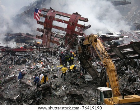 NEW YORK - SEPT 20 :  Workers search through  the debris at Ground Zero World Trade Centre on September 20, 2001 in New York.