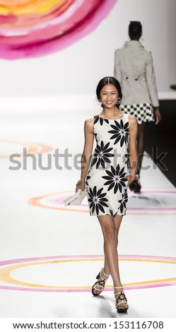 NEW YORK - SEPTEMBER 05: A model is walking the runaway at Desigual Collection for Spring/Summer 2014 fashion show during Mercedes-Benz Fashion Week on SEPTMEBR 05, 2013 in New York - stock photo