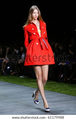 NEW YORK - SEPTEMBER 12: A model is walking the runway at the Tommy Hilfiger collection presentation for Spring/Summer 2011 during Mercedes-Benz Fashion Week on September 12, 2010 in New York