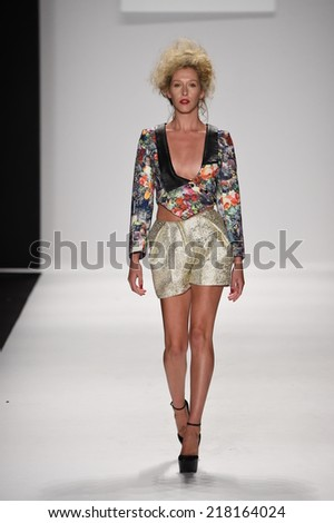 NEW YORK - SEPTEMBER 11: A model walks runway for Altaf Maaneshia Spring/Summer 2015 fashion show at Mercedes-Benz Fashion Week during New York Fashion Week on September 11, 2014 in NYC.