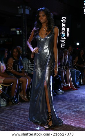 NEW YORK - SEPTEMBER 07: A Model walks runway for Raul Penaranda Spring-Summer 2015 Sultry presentation at Stage 48 during New York Fashion Week on September 07, 2014 in NYC.