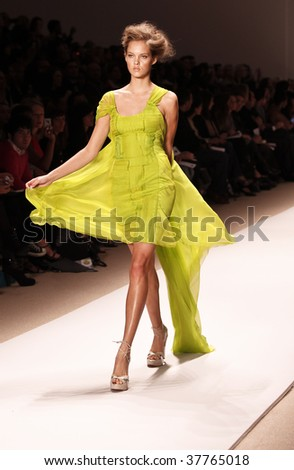 NEW YORK - SEPTEMBER 12: A model walks the runway at Edition by Georges Chakra Collection for Spring/Summer 2010 during Mercedes-Benz Fashion Week on September 12, 2009 in New York. - stock photo