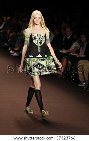 NEW YORK - SEPTEMBER 16: A model walks the runway at the Anna Sui Collection for Spring/Summer 2010 during Mercedes-Benz Fashion Week on September 16, 2009 in New York.