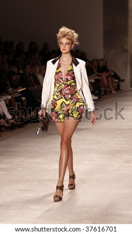 NEW YORK - SEPTEMBER 13: A model walks the runway at the Derek Lam Collection for Spring/Summer 2010 during Mercedes-Benz Fashion Week on September 13, 2009 in New York.