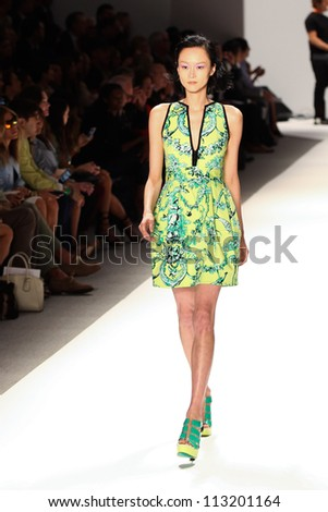 NEW YORK - SEPTEMBER 12: A model walks the runway at the NANETTE LEPORE Spring/Summer 2013 collection Mercedes-Benz Fashion Week in New York on September 12,2012 - stock photo