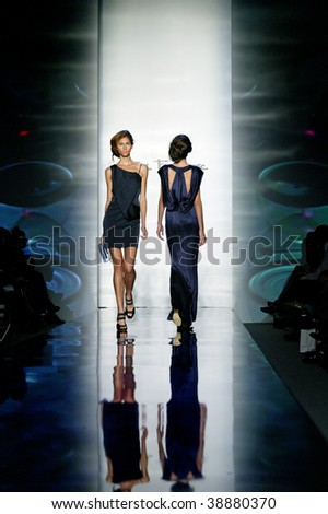 NEW YORK - SEPTEMBER 15: A model walks the runway at the Toni Francesc Collection for Spring/Summer 2010 during Mercedes-Benz Fashion Week on September 15, 2009 in New York. - stock photo