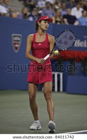 NEW YORK - SEPTEMBER 03: Ana Ivanovic of Serbia returns ball during 3rd round match against Sloane Stephens of USA at USTA Billie Jean King National Tennis Center on September 03 2011 in New York City - stock photo